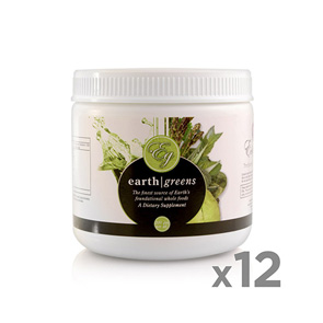 EARTH GREENS POWDER DISCOUNTED PACK<br>12 Jars (100 scoops ea.)<br>SAVE $120.00 USD
