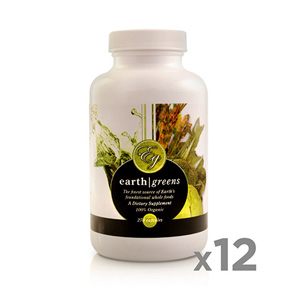 EARTH GREENS CAPSLUES DISCOUNTED PACK<br>12 Bottles (270 caps ea.)<br>SAVE $174.10 USD