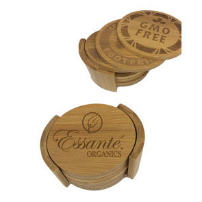Organic Bamboo Coaster Set (6 Coasters, 1 Holder)